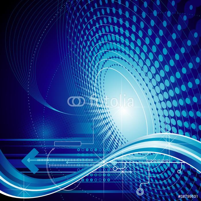 Vinylová Tapeta Technologie abstraktní kompozice modré pozadí. - Značky a symboly