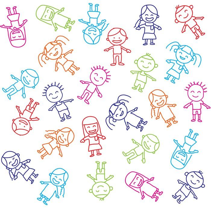 Nálepka Pixerstick Vektorové barevné pozadí pro děti - Děti