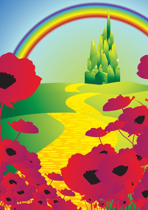 Emerald city and poppies and rainbow wall mural pixers for Emerald city wall mural