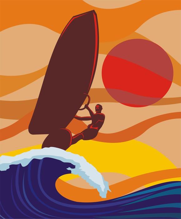 Vinylová fototapeta Na vlně - windsurfing - Vinylová fototapeta