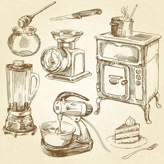 papier peint ustensiles de cuisine vintage ustensile de cuisine dessin la main ensemble. Black Bedroom Furniture Sets. Home Design Ideas