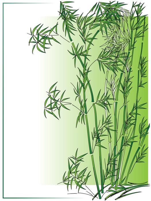 Vinilo Pixerstick Bambú en el estilo asiático en marco verde ...