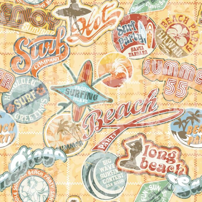 Vintage Beach Labels Seamless Pattern Vinyl Wall Mural