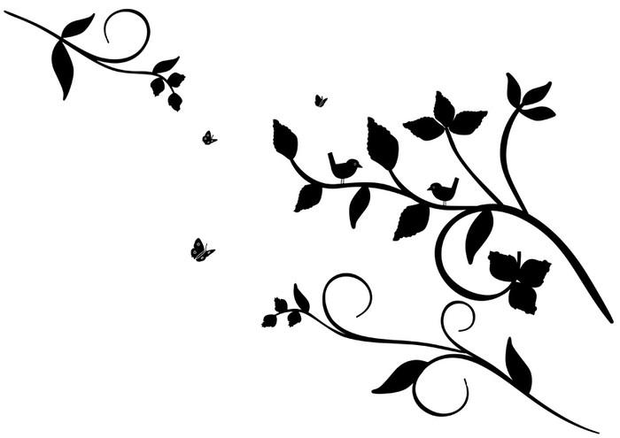 Vinilo Pixerstick Pájaros En árbol En Blanco Y Negro