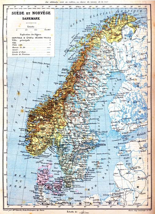 fototapete die karte von schweden norwegen und d nemark. Black Bedroom Furniture Sets. Home Design Ideas