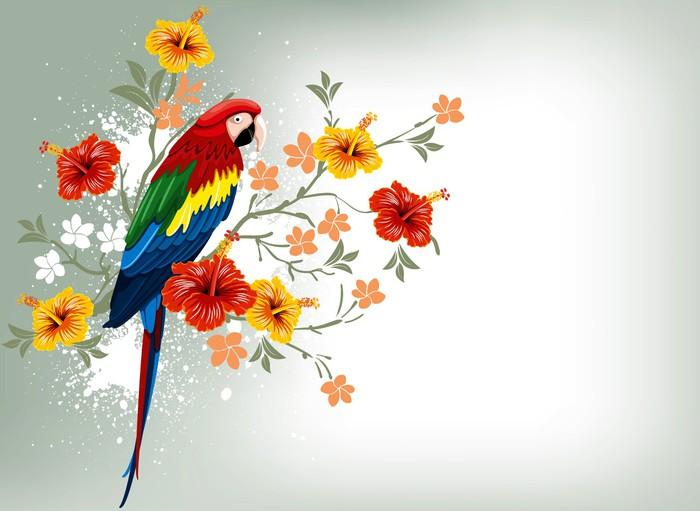 Vinylová Tapeta Parrot a tropické květiny - Témata