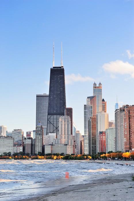 Fotomural Chicago horizonte urbano • Pixers® - Vivimos para cambiar