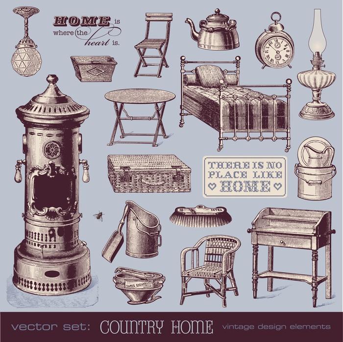 Fotomural muebles de poca y objetos de la casa pixers - Muebles de epoca ...