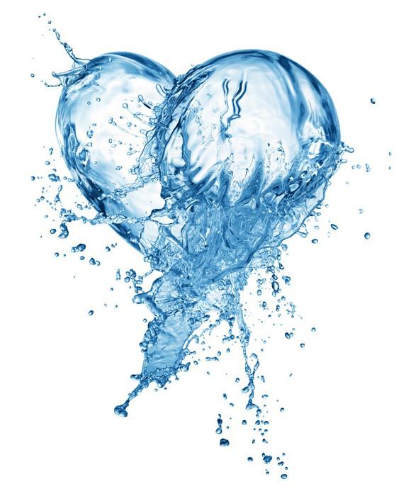 Vinylová fototapeta Srdce z stříkající vodě s bublinkami - Vinylová fototapeta