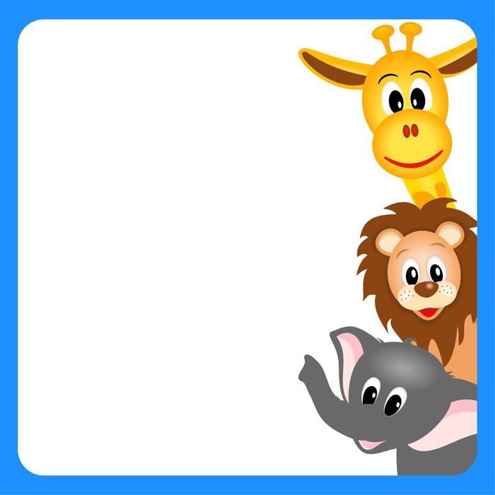 Vinylová Tapeta Bitmapové ilustrace malé žirafy, slona a lva - Savci