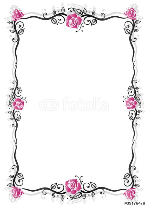 Vinylová Tapeta Růže, vinné révy, rostliny, květiny, rám, černá, růžová - Květiny