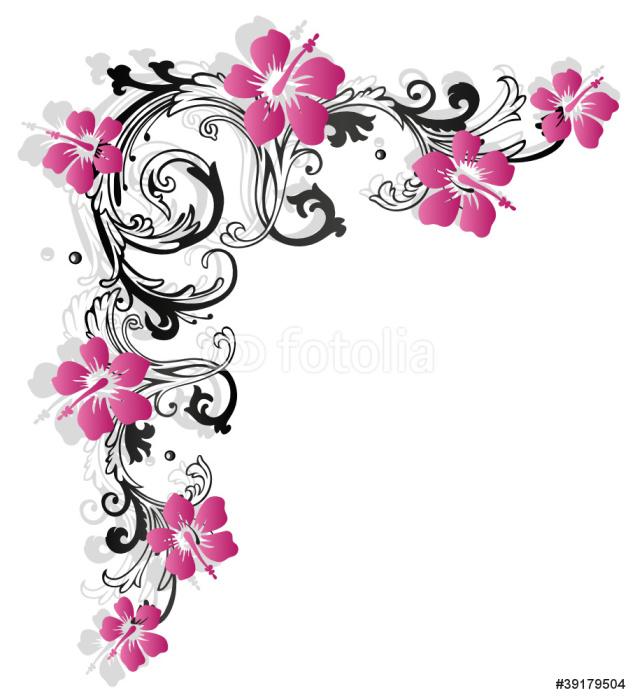 Vinylová Tapeta Hybiscus, ibišek, Ranke, flóry, Blumen, růžová - Nálepka na stěny