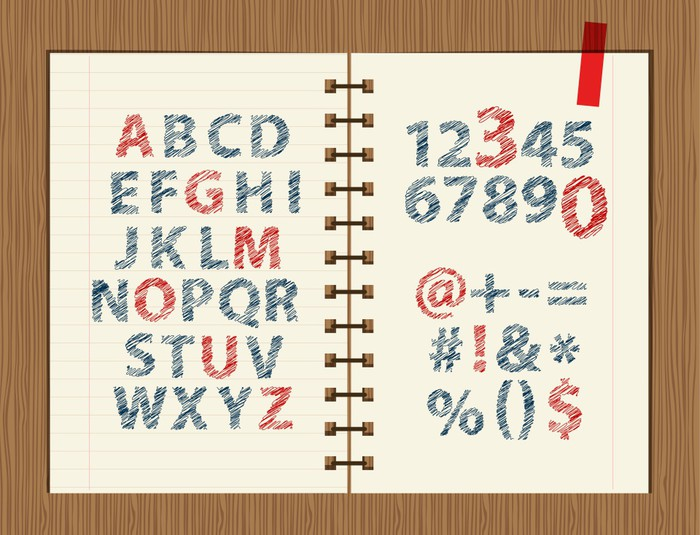 Sheet With Sketch Of Letters And Symbols For Your Design Wall Mural