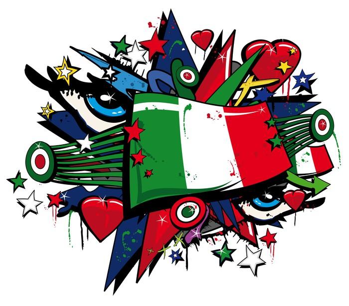 Vinylová Tapeta Flag Forza Azzurri italské pop art graffiti tag - Nálepka na stěny