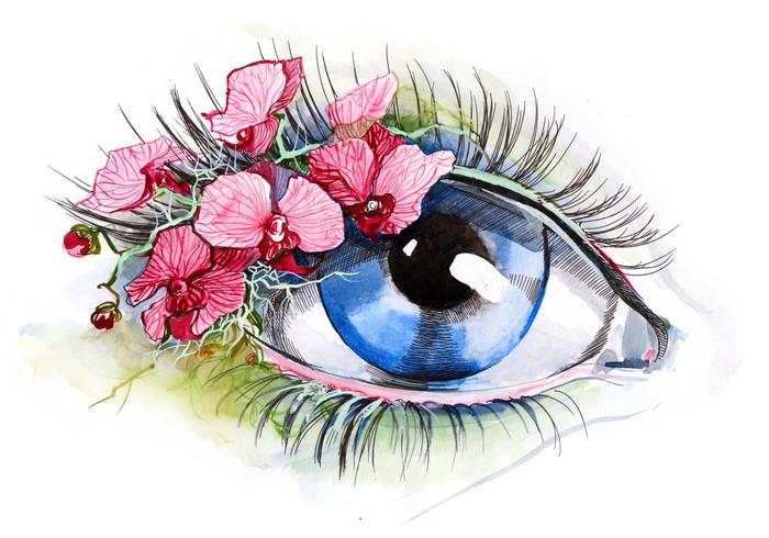 Papier Peint Vinyle Oeil avec l'orchidée (série C) - Styles