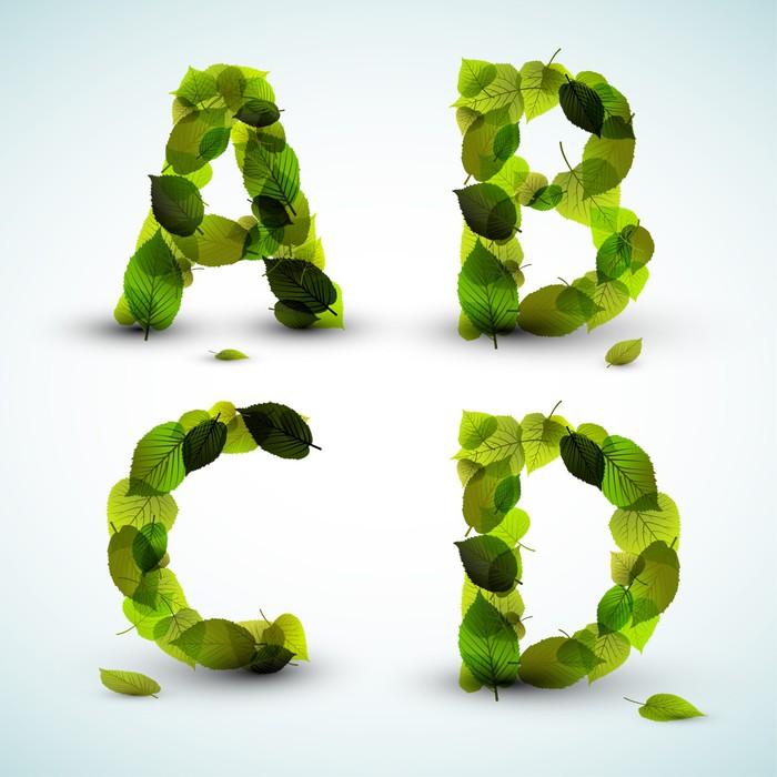 Fotomural Letras del alfabeto vector hechas de hojas • Pixers ...