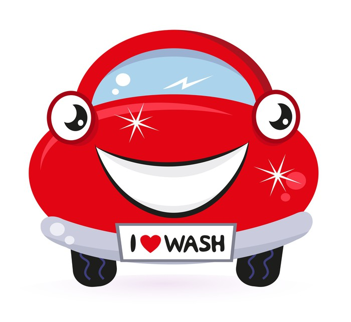Cute Red Car Wash Isolated On White Wall Mural Pixers We Live