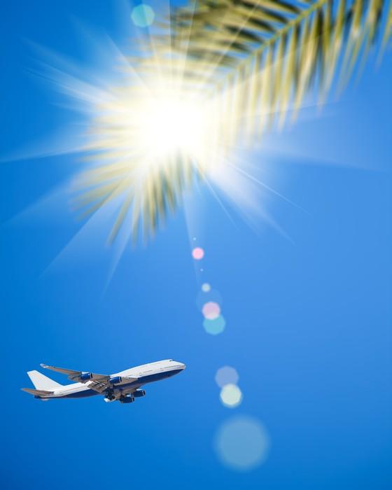 Vinylová Tapeta Letounu letícího v modré obloze - Prázdniny