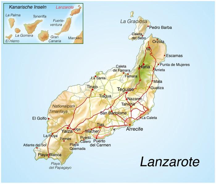Carta da parati mappa di lanzarote pixers viviamo per for Carta da parati cartina geografica