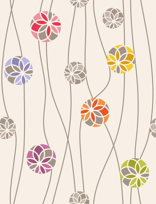 Vinylová fototapeta Barevné květinové medailonky. Seamless vector pattern - Vinylová fototapeta