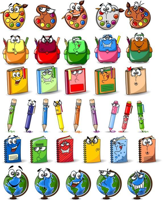 Aufkleber Cartoon Schultaschen, Bücher, Palette mit Farben und ...