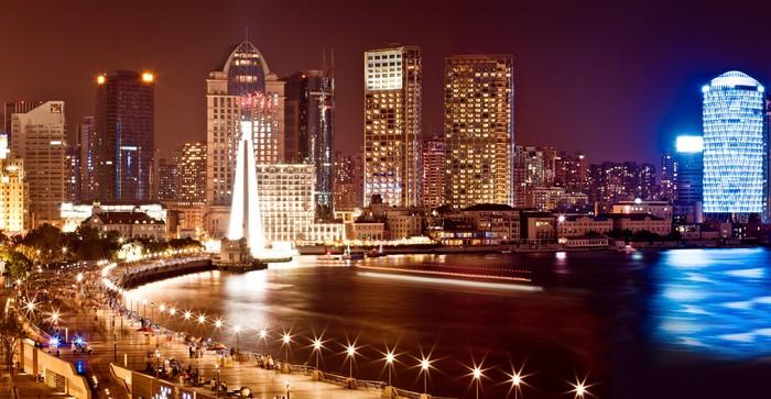 Vinylová Tapeta Shanghai Pudong panorama v noci - Těžký průmysl