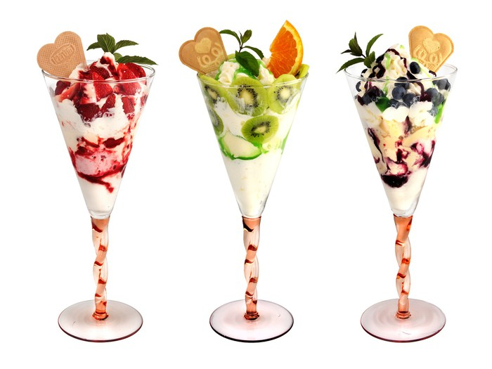 Fototapete Eiskarte Frucht Eisbecher Tricolour Pixers