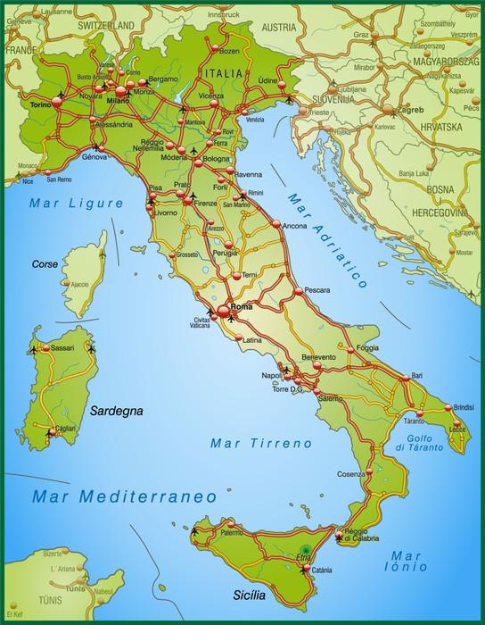 Carta da parati mappa d 39 italia con autostrade pixers for La parati italia