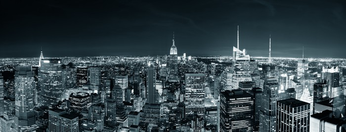 Fototapete New York City Manhattan Skyline bei Nacht • Pixers® - Wir ...