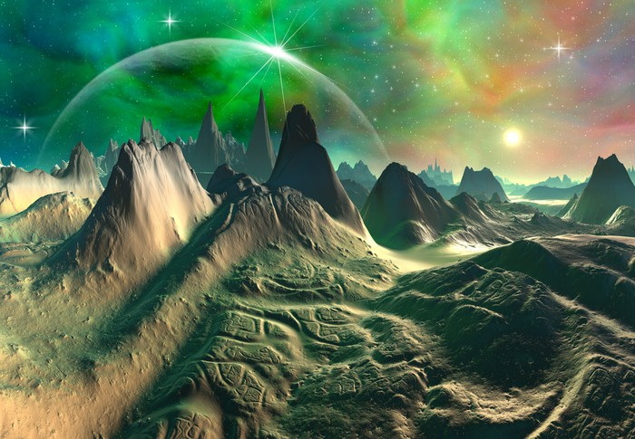 Vinylová Tapeta Zelená Fantasy Planet - Hory