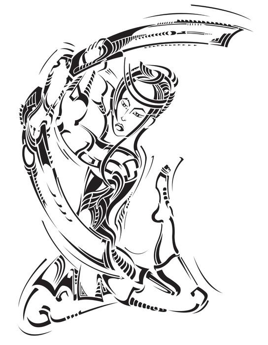 Obraz Na Pltn Dekorativn Ilustrace S Samurajem A Mee Motla