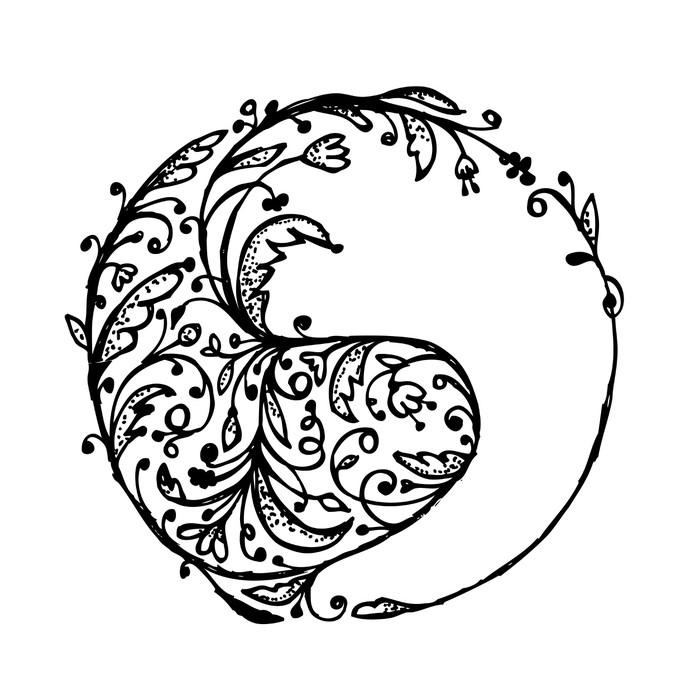 fototapeta yin yang znak szkic do projektowania • pixers