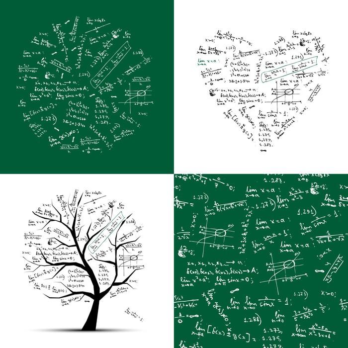 Aufkleber Math-Kollektion: Rahmen, Baum, nahtlose Hintergrund ...