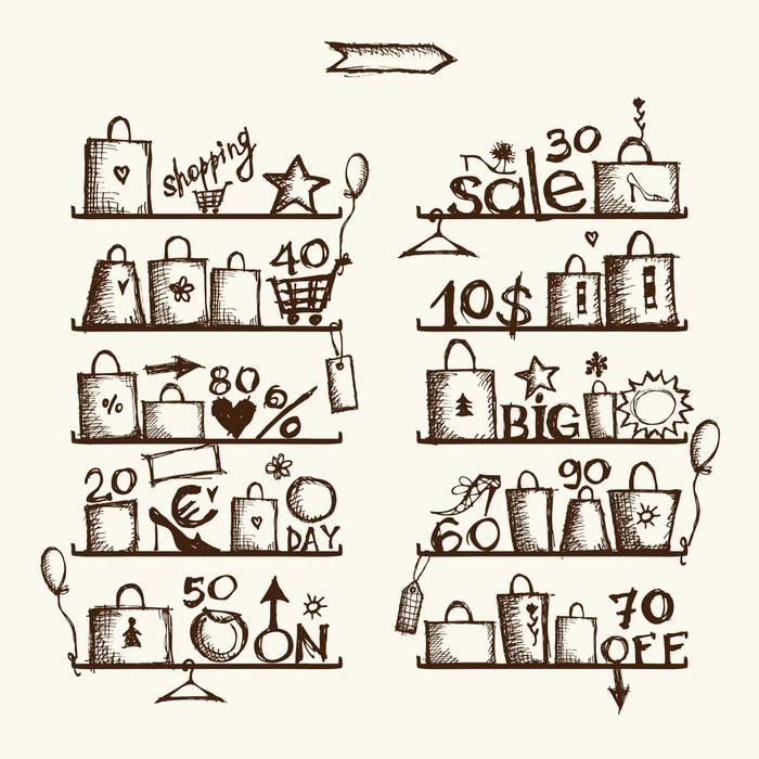 Fototapete Einkaufstaschen auf Regalen, großer Verkauf • Pixers ...
