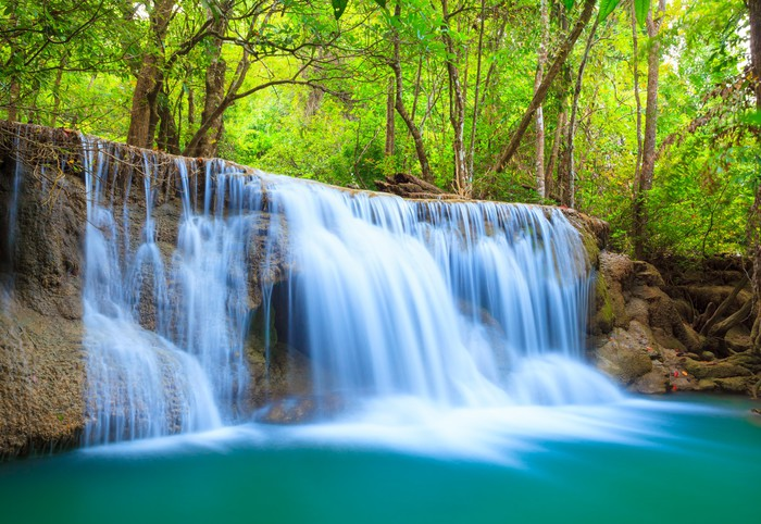 Deep Forest Waterfall Kanchanaburi Thailand Wall Mural