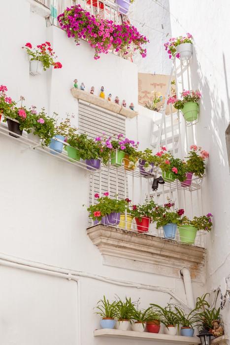 Terrazzo fiorito e vasi colorati Wall Mural • Pixers® • We live to ...