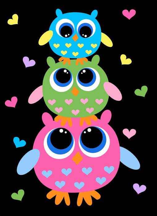 Papel de Parede em Vinil three colorful sweet owls - Temas