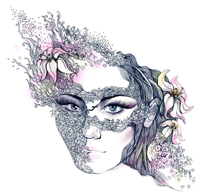 Canvastavla Blommig dekorerat ansikte -