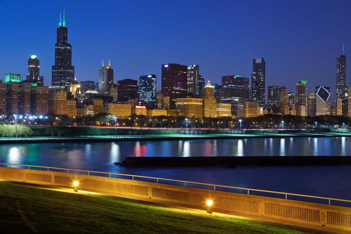Chicago skyline wall mural pixers we live to change for Chicago skyline mural wallpaper