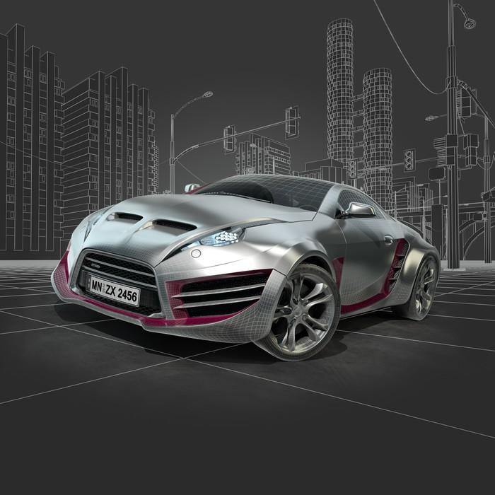 sticker argent voiture de sport conception de la voiture originale pixers nous vivons. Black Bedroom Furniture Sets. Home Design Ideas
