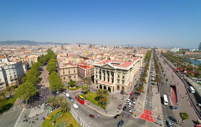 Vinyltapet Topp utsikt over Barcelona - Europeiske byer