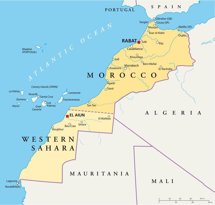 marocko karta Fototapet Marocko och Västsahara Karta • Pixers®   Vi lever för  marocko karta