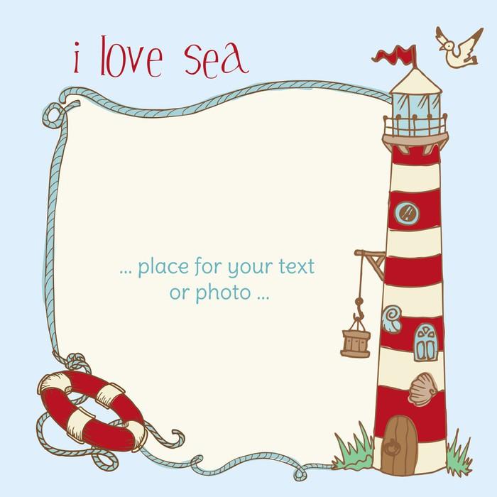Vinylová Tapeta Námořní Card - s místem pro váš text či fotka do vektoru - Prázdniny