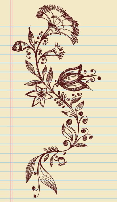 Vinylová Tapeta Sketch Doodle Henna Elegantní Květiny a Vines Vector - Květiny