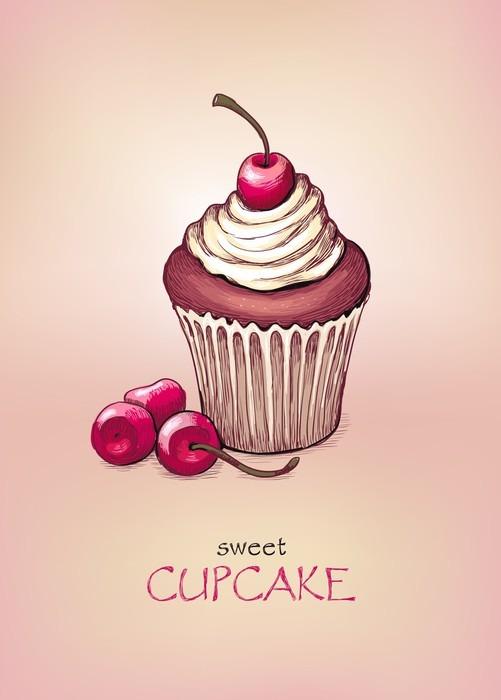 Vinylová Tapeta Cupcake s cherry - Do kavárny