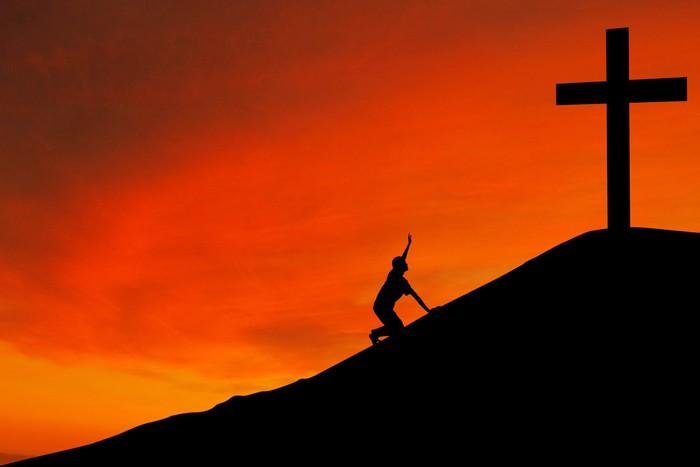 Vinylová Tapeta Silueta muže s křížem - Náboženství