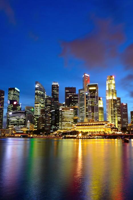 Vinylová Tapeta Město noční pohled na Singapur - Témata