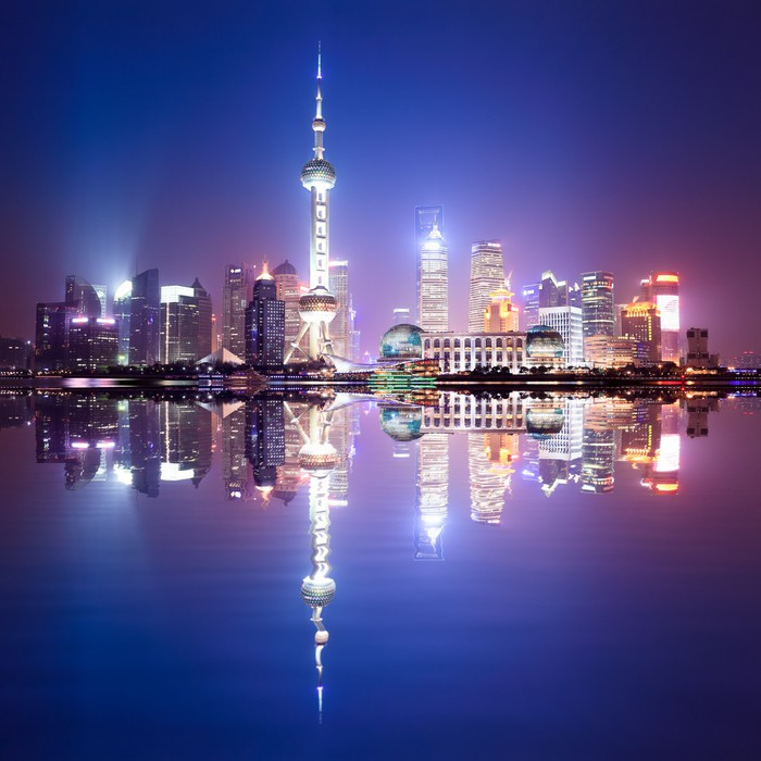 fototapete shanghai skyline bei nacht pixers wir leben um zu ver ndern. Black Bedroom Furniture Sets. Home Design Ideas