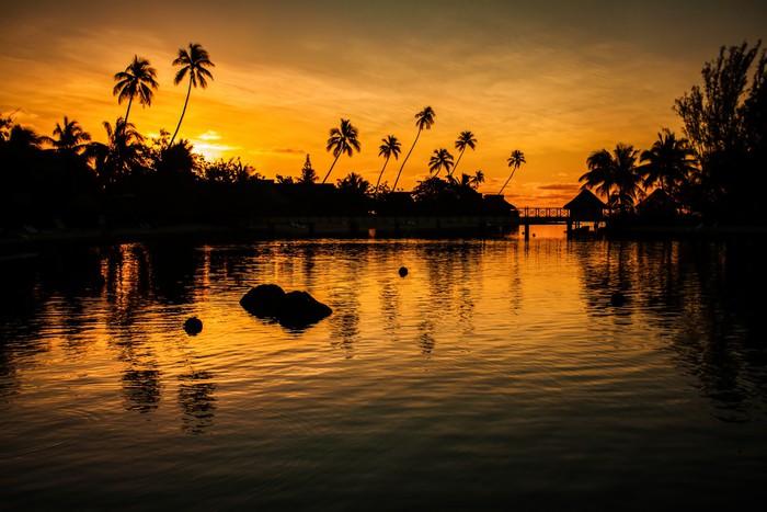 Vinylová fototapeta Západ slunce v tropickém ráji s palmami - Vinylová fototapeta