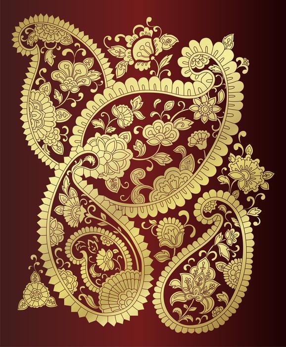 Sticker paisley motifs floraux traditionnels textiles Motifs scandinaves traditionnels